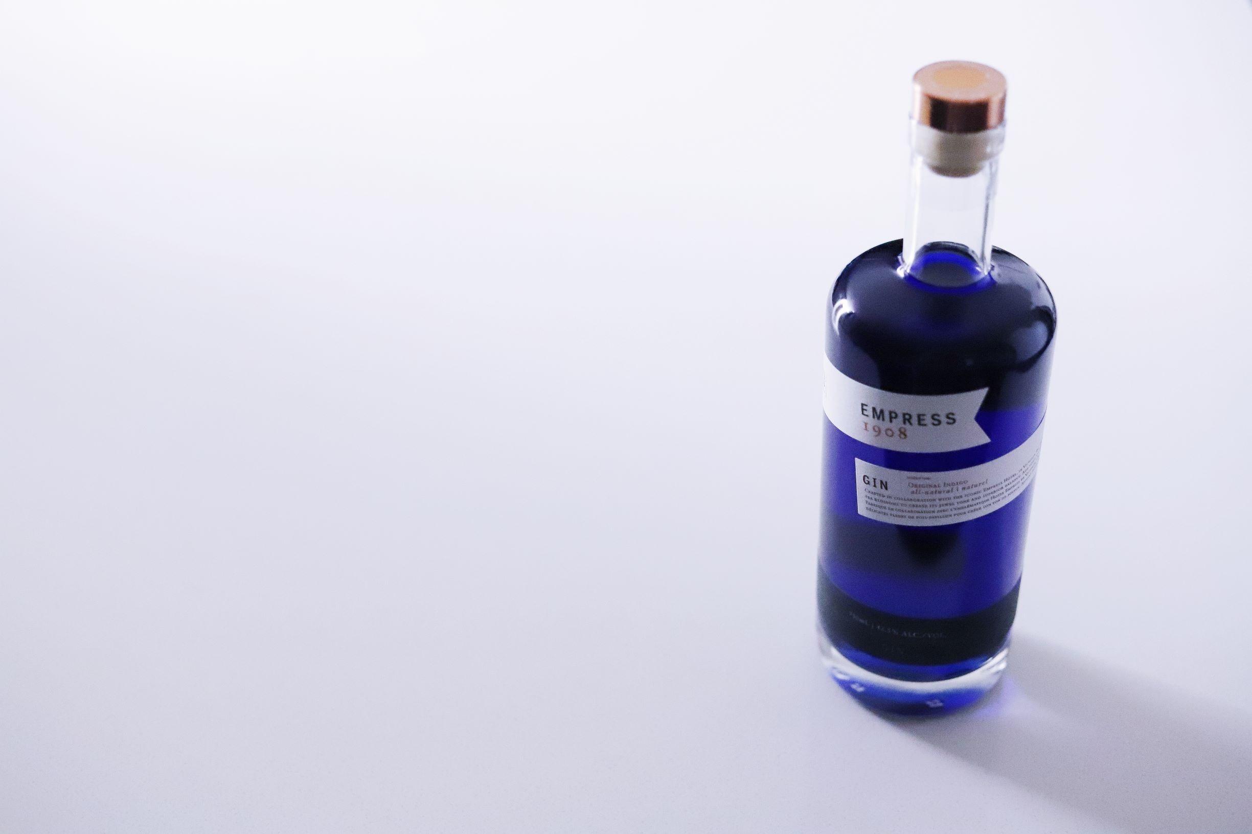 Victoria, BC based Empress Gin bottle for a cocktail using LeClair Organics Coffee Berry Tea, Cascara Tea