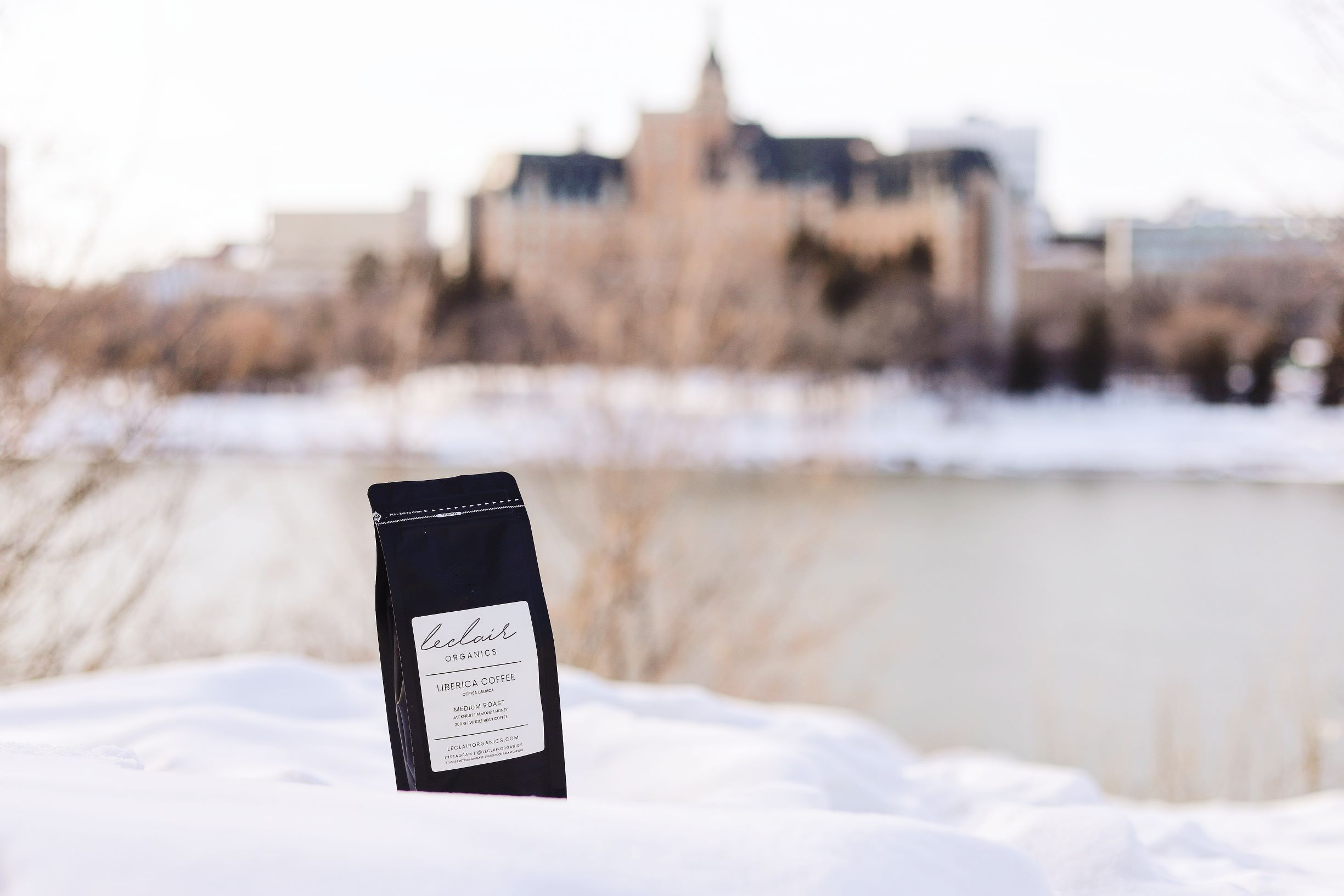 Liberica Coffee Saskatoon, Coffee Roasters Saskatoon, liberica coffee bag in front of delta bessborough