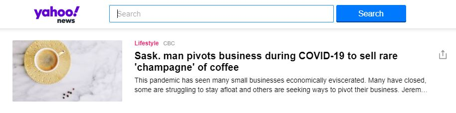 LeClair Organics as featured on Yahoo News, Racemosa Coffee, Worlds Rarest Coffee Species